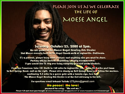 Celebrate the life of Moese Angel on October 25th at 2pm
