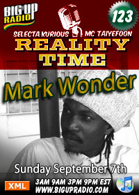 Reality Time 123 features Mark Wonder Sunday Sept 7th
