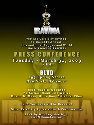2009 IRAWMA's Kicks Off Next Tuesday at BLVD in NYC