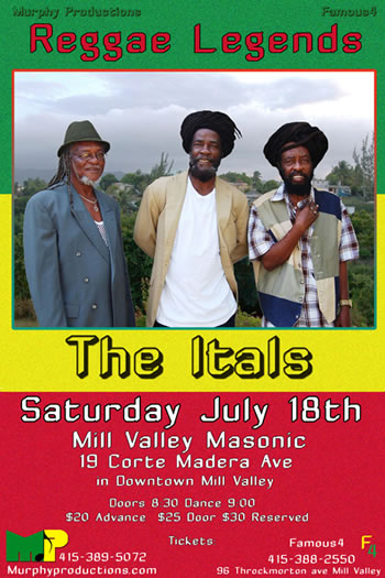 The Itals Come To Marin California July 18th