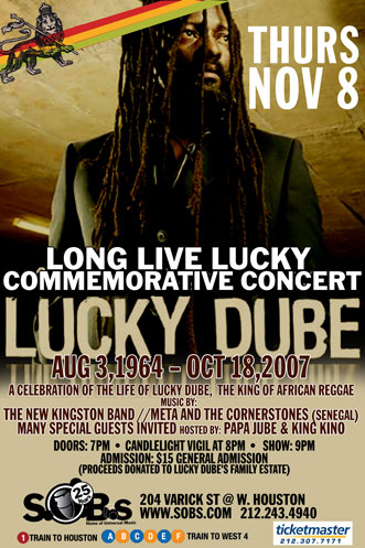 S.O.B's Pays Tribute to Reggae Icon Lucky Dube with Long Live Lucky Memorial Concert and Vigil