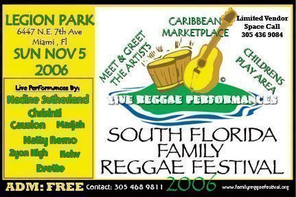 Top Int'l and Local Reggae Artists Perform This Sunday In Miami For The 2nd Annual SFFRF 2006