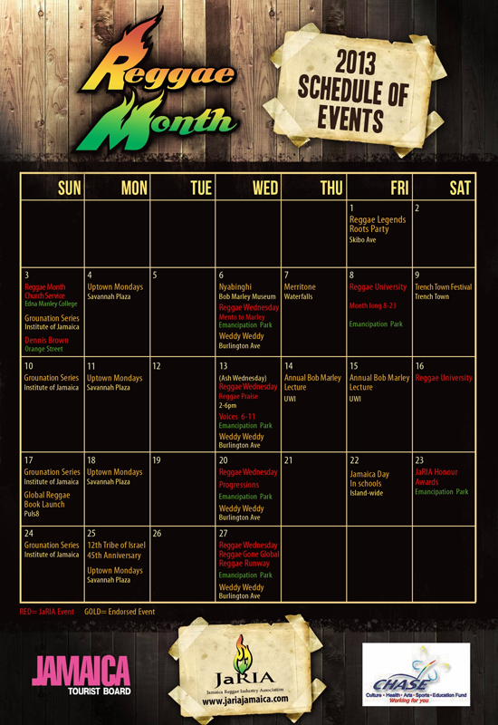 Official Reggae Month Calendar 600